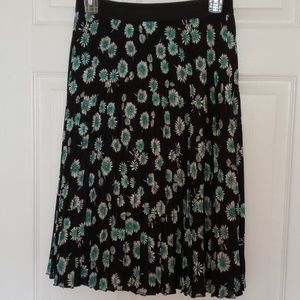 Express Midi A-line pleated floral skirt